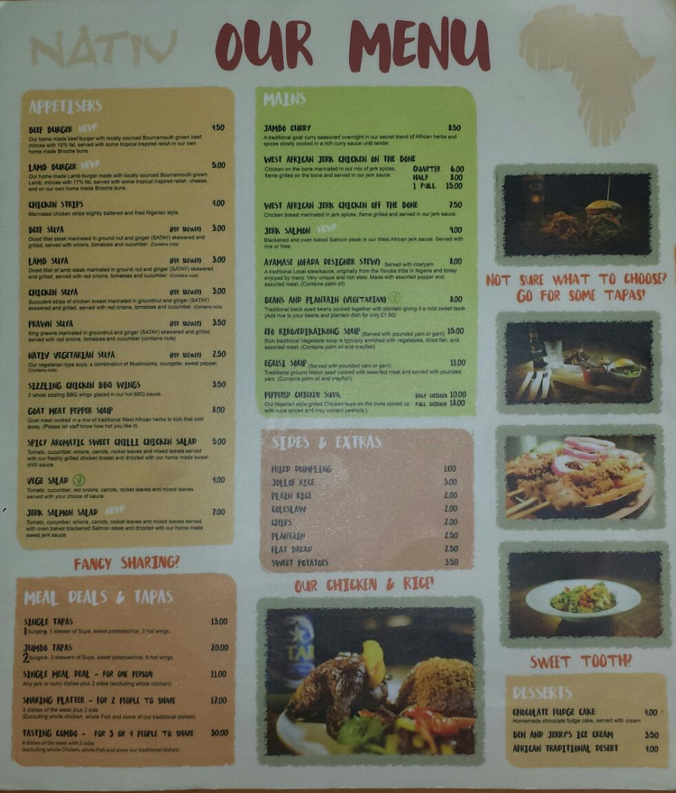Nativ the best of african cuisine in bournemouth for African cuisine menu